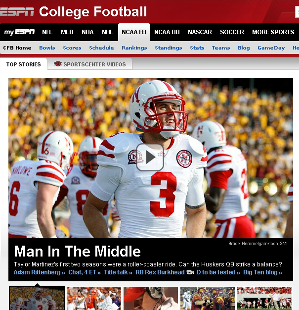taylorespn [Quick Hits] Nebraska Cornhuskers Taylor Martinez front and center on ESPNs College Football page